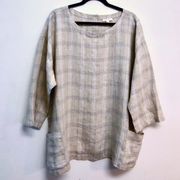 ea008ed746 Eileen Fisher Tops - 🆕 Eileen Fisher Organic Linen Multi-Plaid Tunic
